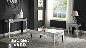 Glam Crushed Rhinestone Crystal Mirrored Coffee Table Set for Sale in Lake Elsinore, CA