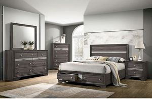 Brand New 5pc Bedroom Set In Grey for Sale in San Bernardino, CA