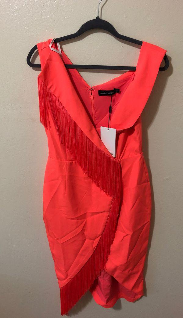 ***Brand New*** Off the shoulder wrap fringe dress