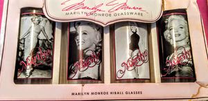 """Marilyn Monroe Four Vintage Collectible Glasses Bernard Hollywood-6-1/4"""" Tall for Sale in San Antonio, TX"""