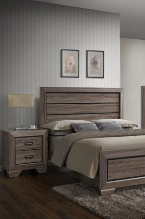 Farrow Grayish Brown Panel Bedroom Set 4 Piece (Queen Frame, dresser, mirror, nightstand) ☑️chest option ☑️King size bed , mattress, box spring avai for Sale in Houston, TX