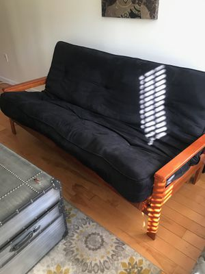 Black futon with brown legs for Sale in Washington, DC