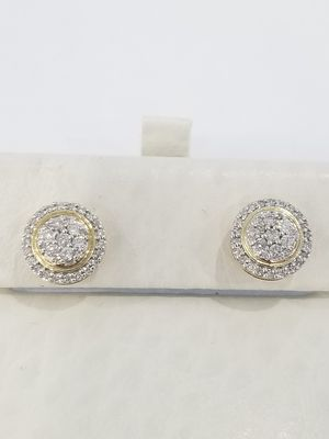 Black Friday Special Real 10k Yellow Gold Diamond Iced Out Round Halo Earrings for Sale in Richmond, TX