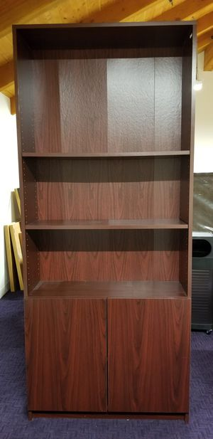 Cherry wood book shelf with cabinet for Sale in Palo Alto, CA