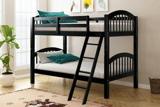 Black Twin Over Twin Bunk Bed   HH11