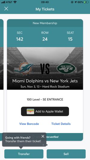 Jets vs Dolphins for Sale in Aventura, FL