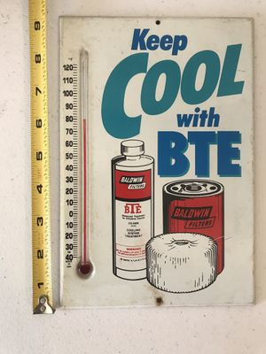 Vintage BTE Baldwin Oil Filters Advertising Metal Thermometer sign for Sale in West Palm Beach, FL
