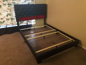 NEW BLACK LEATHER DIAMOND TUFTED BED FRAME - TWIN FULL QUEEN SIZE - GET IT NOW! 🚚 for Sale in Houston, TX