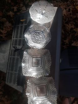 4 pc crystal looking candy dishs for Sale in Marshall,  TX