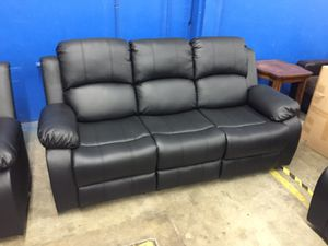 Black leather fully reclining sofa for Sale in Tukwila, WA