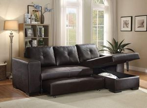 BLACK BICAST LEATHER Sectional Sofa CHAISE Sleeper & Storage SILLON for Sale in Rancho Mirage, CA