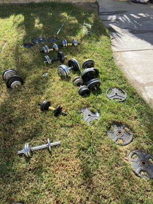 Standard weights over 225 lbs in plates for Sale in Rialto, CA