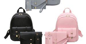 3pc woman leather School backpack shoulder purse for Sale in Detroit, MI