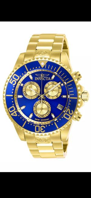 MEN'S BRAND NEW LUXURY INVICTA NICE GOLD-TONE & BLUE FACE CHRONOGRAPH WATCH. for Sale in Hazard, CA