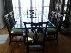 Glass dining table and chairs for Sale in Mebane, NC