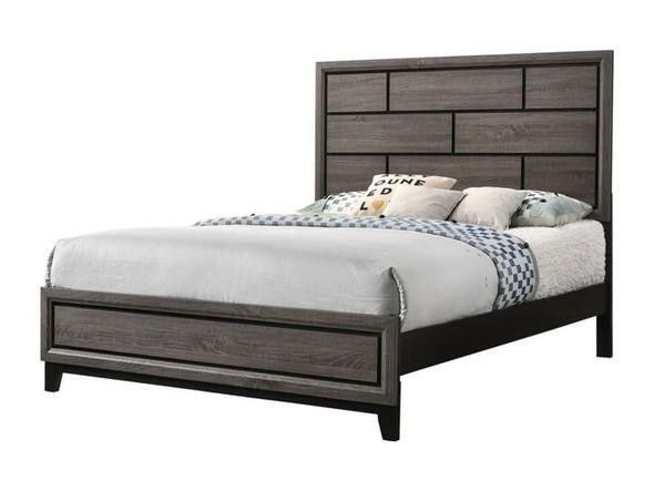 [HOT DEAL] Akerson Gray Panel Bedroom Set 4 PIECE QUEEN BEDROOM SET (Bed frame, dresser, nightstand and mirror included) chest optional