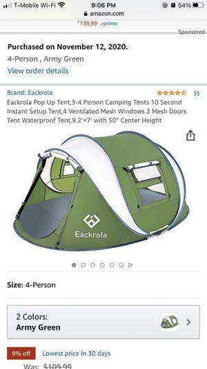 Brand new Eackrola Pop Up Tent,3-4 Person Camping Tents 10 Second Instant Setup Tent,4 Ventilated Mesh Windows 2 Mesh Doors Tent Waterproof Tent,9.2' for Sale in Garden Grove, CA