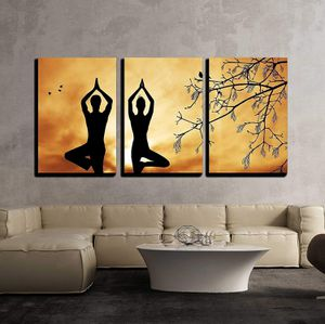 """3 Piece Canvas Wall Art - Couple Doing Yoga - Modern Home Decor Stretched and Framed Ready to Hang - 24""""x36""""x3 Panels for Sale in Corona, CA"""