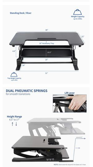 VIVO stand up desk - black for Sale in Frederick, MD