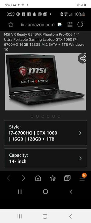 Msi phantom pro gaming laptop for Sale in Chula Vista, CA