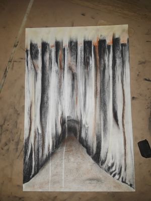 Original abstract charcoal/pastel art signed for Sale in Union City, CA