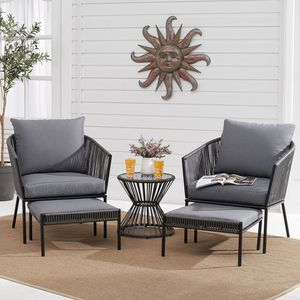 Better Homes & Gardens Brecken 5-Piece Patio Chat Set with Gray Cushions for Sale in Pennsauken Township, NJ