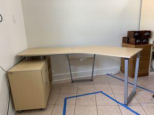 Office work Desk / file cabinet drawer L shape for Sale in Boynton Beach, FL