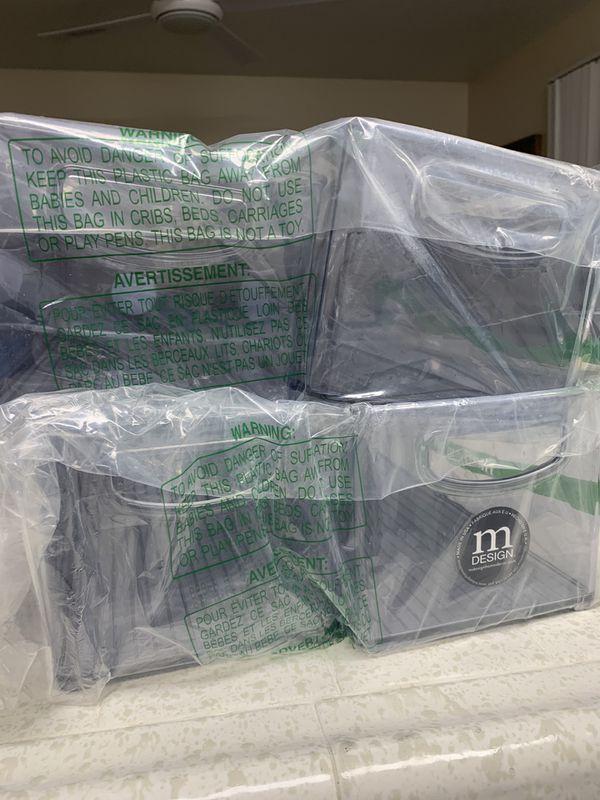 4 mDesign Large Stackable Plastic Storage Bin $20