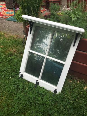 Coat/towel rack with shelf made out of vintage window( glass panes are antique mirrored) for Sale in Lakewood, OH