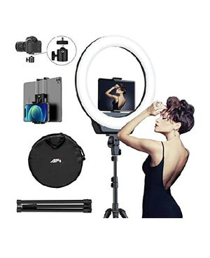 "16"" Selfie Ring Light with 3 Color Modes 79"" Extendable Tripod Stand Phone Camera Holder, 6500K 10 Brightness Dimmable LED. Tik tik youtube photo for Sale in Compton, CA"