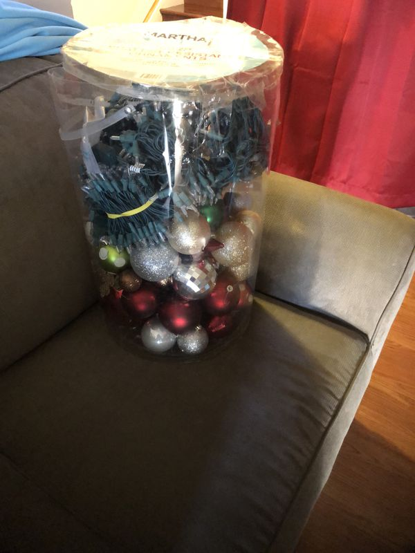 Christmas decorations and 6 clear string lights $25