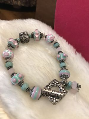 Beautiful! turquoise &pink Beaded silver Bracelet for Sale in Gainesville, VA
