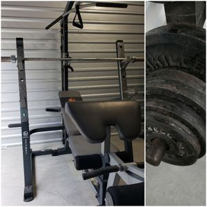 Squat Rack Home Gym w/ Weights. CAN DELIVER. PRICE FIRM. READ POST. for Sale in Houston, TX