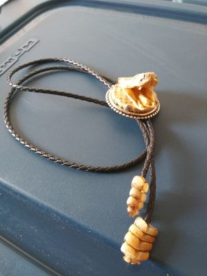 Rare Bolo tie rattlesnake head and rattles  for Sa