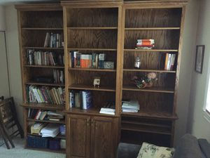 Custom built solid oak bookshelves for Sale in Riverside, CA