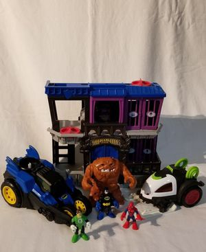 Imaginext Gotham City Jail Includes Bane Car, Batmobile, Clayface, Batman, Green Lantern, and Spiderman for Sale in Medley, FL