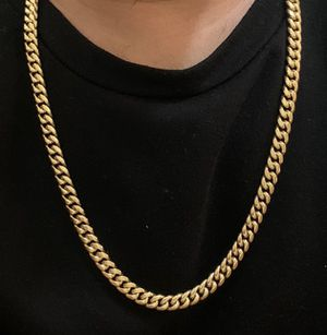 CUBAN LINK CHAIN 14k GOLD JEWELRY BONDED IN STAINLESS STEEL for Sale in Plantation, FL