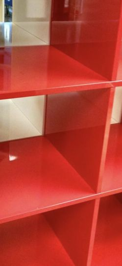 Ikea Kallax Red Glossy Storage Unit Lightly Used for Sale in Seattle, WA