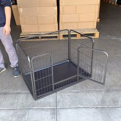 """New $65 Heavy Duty 4-Panel Dog Pet Playpen Kennel with Plastic Tray 37x25x24"""" for Sale in South El Monte,  CA"""