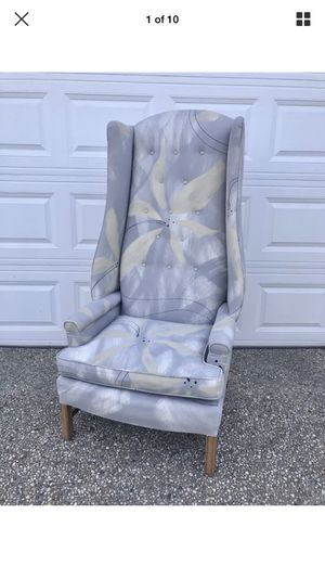 Vintage Directional high back Wing chair hand painted fabric mid century. for Sale in Washington, DC