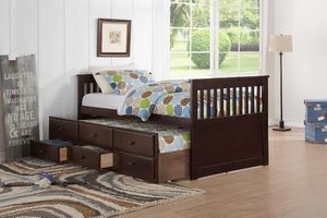 Espresso Twin Captain Bed with Storage Drawers Twin Trundle <<Order Online!! < Same Day Delivery!! for Sale in Houston, TX