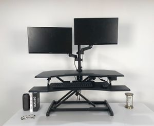 """37"""" Black Height Adjustable Stand Up Power Riser Desktop Workstation fits Dual Monitor for Sale in New York, NY"""