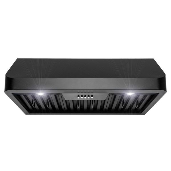 AKDY-30 in. 492 CFM Kitchen Under Cabinet Range Hood with Lights in Black Painted Stainless Steel