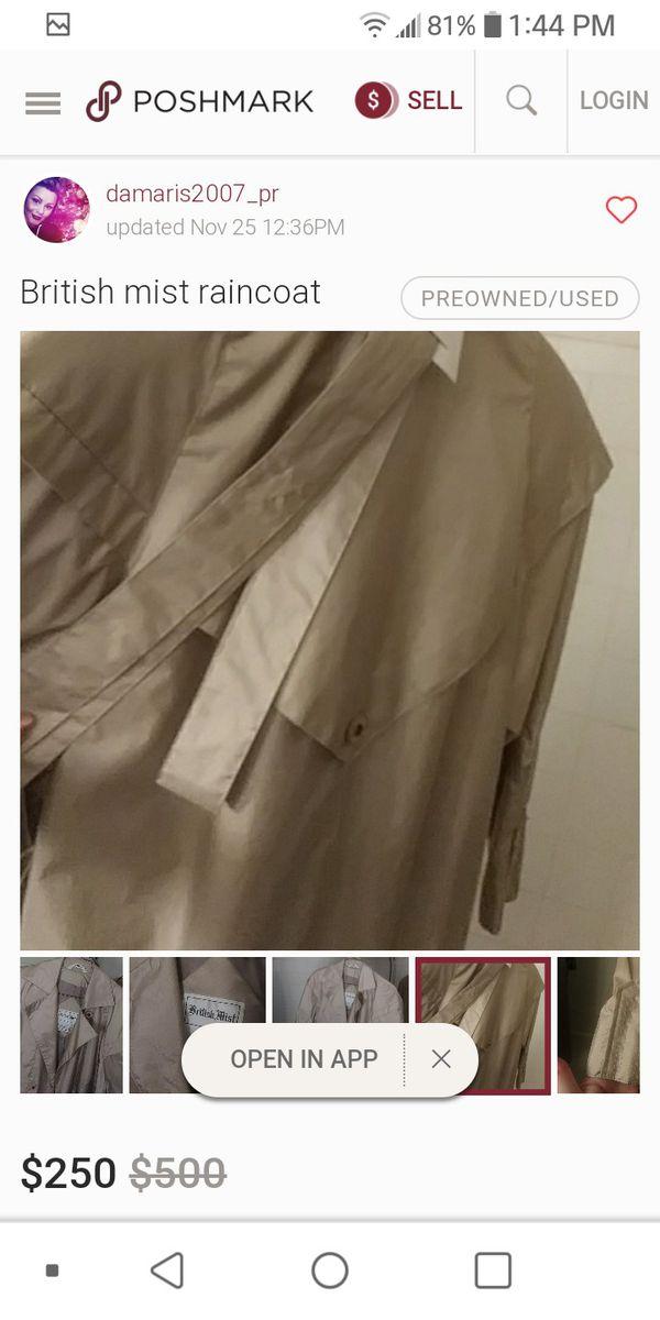 British Mist raincoat size 14 for womenmust pick up Washington $250 coat selling it for $90