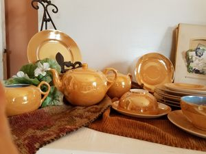 Antique blue and gold teapot, creamer, sugar, dessert plates, cups and saucers for Sale in Bangor, ME