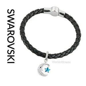 NEW Swarovski Leather Charm Bracelet Set Moon 5180673 for Sale in OLD RVR-WNFRE, TX
