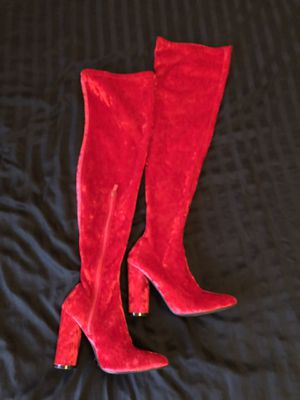 BRAND NEW RED VELVET THIGH HIGH BOOTS for Sale in Tacoma, WA