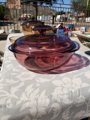 Vintage Corning ware Pyrex Vision Purple Cranberry Bowl & Lid for Sale in Phoenix, AZ