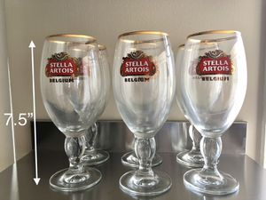 12 pcs set elegant classic collectible Stella Artois fine beer/wine/champagne glasses with golden rims for Sale in Los Angeles, CA