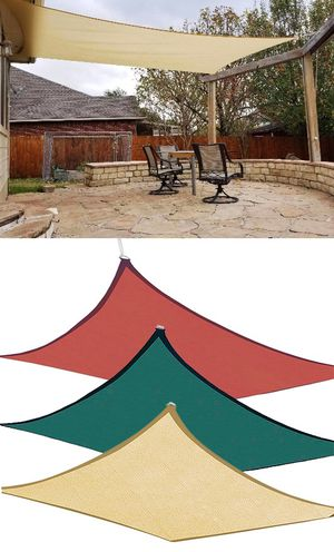 New $50 each 18x18' Square Sun Shade Sail Outdoor Top Cover (Tan, Red or Green) for Sale in El Monte, CA